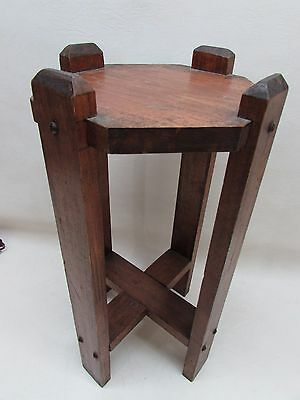 Antique Arts Crafts Mission Style Wooden Flower Plant Stand Old Hardware