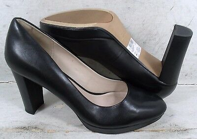 Clarks Narrative Womens Kendra Sienna Black Leather Heels Shoes 18842 size 9.5 M