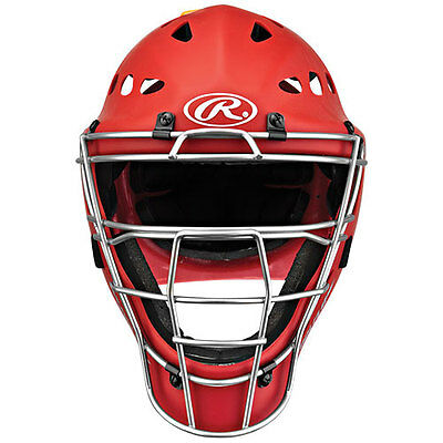 Rawlings Matte Coolflo Hockey Style Youth Catchers Helmet Mch2 Scarlet Red