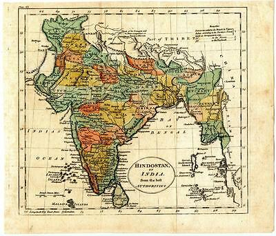 1700s Copper Engraving Hand Colored Map Hindostan India John Russell