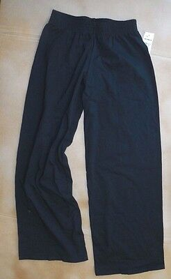 NWT Motion Wear 3205 Black Wide Leg Cotton/Lycra  Relaxed Fit Pants Petite Adult