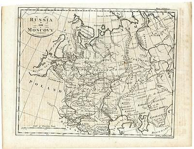 c. 1770 Copper Engraving Hand Colored Map Russia or Moscovy A. Bell Muscovy