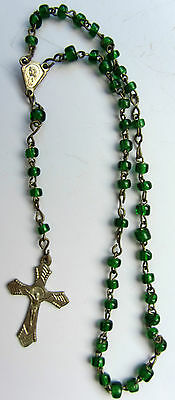 Beautiful Vintage Rosary GREEN Beads Antique Holy Religious FREE SHIPPING