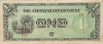 1942 1 Peso Philippines Japanese Invasion Money Currency Note Banknote Jim Wwii