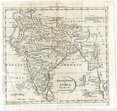 1700s Copper Engraving Map Hindostan or India Thomas & Andrews Gridley