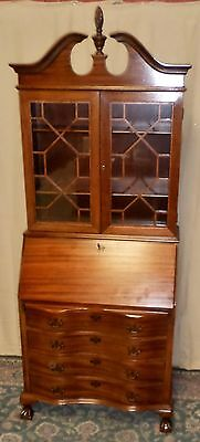 MAHOGANY SECRETARY Desk Chippendale Style Claw Ball Feet Latticed Doors VINTAGE