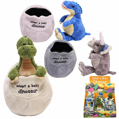 Soft Plush Adopt A Baby Dinosaur In Egg Cuddly Toy Teddy Childrens Comforter New