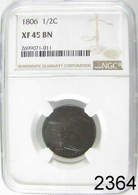 1806 Draped Bust Half Cent Ngc Certified Xf 45 Brown Sheen Very Original #2364