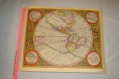 "Map of America 1620 by Mercator,26"" X 20"",Penn Prints NY 1960's-70's,Great Color"