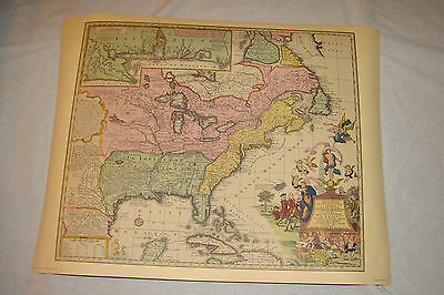 Matthew Seutteri 1735  Map Accurate Delineation, North America,Vintage 1960's 70