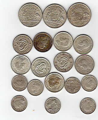Australian Mixed Silver Coin Lot 19 coins 3.108  silver free ship