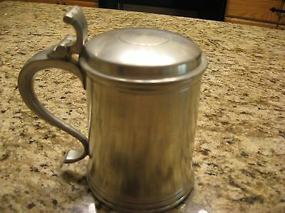 Crown & Rose Cast Pewter Lidded Tankard Made in London England