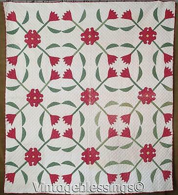 """Early! ANTIQUE Dated 1879 Turkey Red Green Floral & Bud Applique QUILT 76"""" x 67"""""""