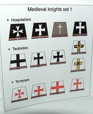 13 Custom stickers templars teutonics hospitallers KNIGHTS - to convert lego tor