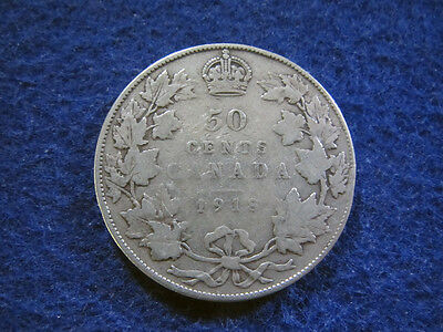 1918 Canada Silver 50 Cents - Nice Circulated - Free U S Shipping