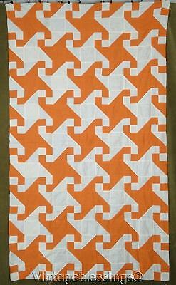Beautiful! Vintage Orange Snail Trail QUILT TOP
