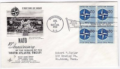 US Scott 1127 NATO 10th anniversary block of 4 Cachet First Day Cover
