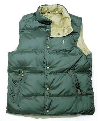 NEW Polo Ralph Lauren Mens REVERSIBLE DOWN FEATHER Vest Jacket GREEN SIZE SMALL