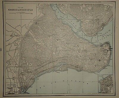 VINTAGE 1892 MAP ~ Constantinople ~ OLD ANTIQUE ATLAS MAP FREE S&H 92/031617