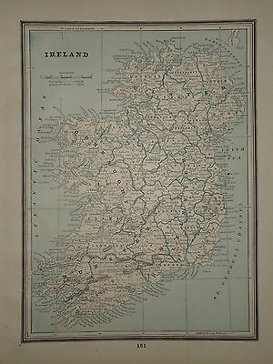 VINTAGE 1892 MAP ~ Ireland ~ OLD ANTIQUE ATLAS MAP FREE S&H 92/031617
