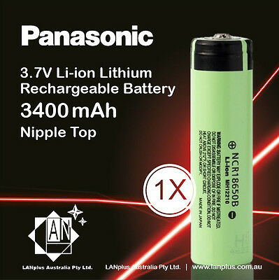 1x Panasonic NCR 18650 B Rechargeable Battery 3400mAh 3.7v Li-ion NippleT No PCB