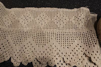 Antique Hand Crocheted Cotton French Lace Trim Edging 12+ Yards & Pieces Ecru