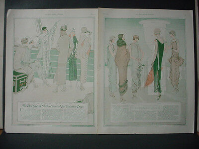 1924 Vacation Day Women's Fashion Chanel Lenief Poiret Vintage PRINT 11781