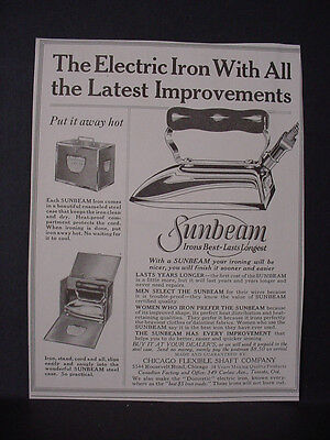 1924 Sunbeam Electric Iron  with all latest Improvements Vintage Print Ad 11793