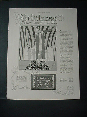 1925 Printzess Coats Suits Dresses Fashion Full Page Vintage Print Ad 200