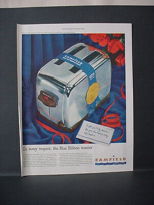 1947 Camfield Automatic Electric Toaster Full Page Color Vintage Print Ad 11673