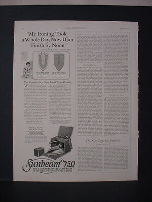 1925 Sunbeam Iron Electric Iron Finish by Noon Vintage Print Ad 252