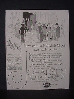 1924 Johansen Feeture Arch Shoes Stylich and Comfortable Vintage Print Ad 11790