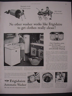 1951 Frigidaire Automatic Washer Appliance Kids Play Vintage Print Ad 12270
