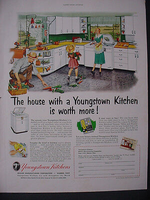 1951 Youngstown Kitchen Furniture Cabinet Spilled Produce Vintage Print Ad 12265