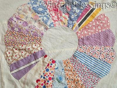 "Beautiful Prints! Vintage 1930s Applique Dresden Plate QUILT TOP 71"" x 70"""
