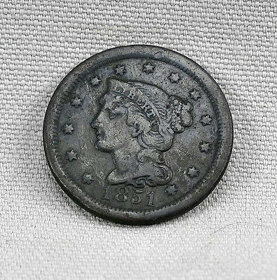 1851 Braided Hair Large Cent! No Reserve!