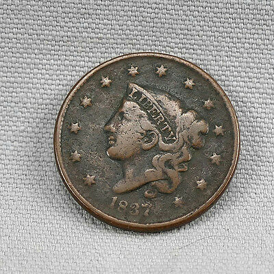 1837 Coronet Head Large Cent! No Reserve! Free Shipping!