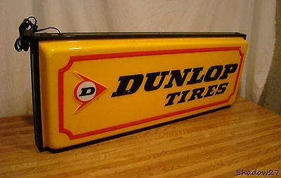 "Vintage Dunlop Tires 36"" Double Sided Lighted Advertising Sign Gas Oil Light!"