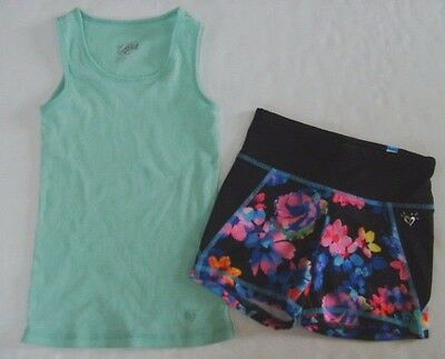 JUSTICE Girls size 8 CAMI FLORAL YOGA SHORTS OUTFIT EUC NEW NWT