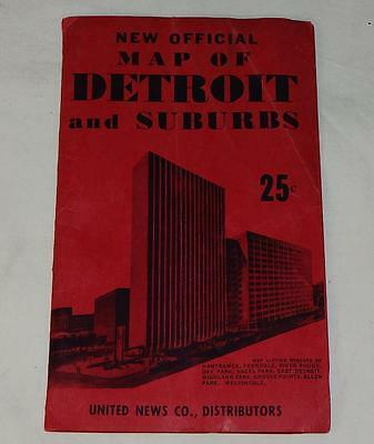 """Vintage """"NEW OFFICIAL MAP of DETROIT & SUBURBS"""" FOLD-OUT MAP"""