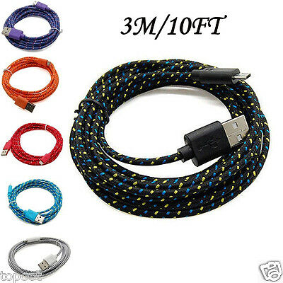 3M/10FT Hemp Rope Micro USB Charger Charging Sync Data Cable Cord for Cell Phone