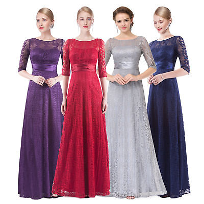 US Long Mother of Bride Dress Lace Half Sleeve Evening Dresses 08878 Ever Pretty