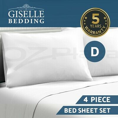 Giselle Bedding 1000TC Bed Sheet Set Flat Fitted Microfiber Sheet Set Double