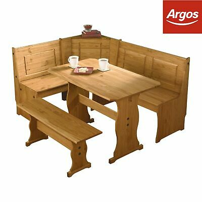 Argos Home Puerto Rico Wood Nook Table & 3 Corner Bench Set