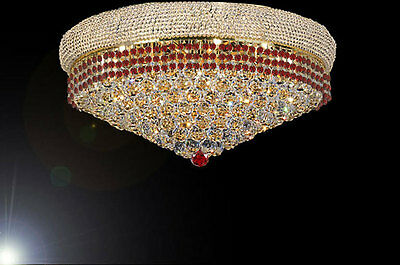 """Flush French Empire Crystal Chandeliers Moroccan Style Lighting H16"""" X W30"""""""
