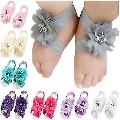 Toptim Baby Girl's Barefoot Sandals Flower for Toddlers (10 Mix Colors) New