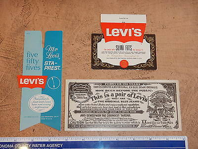 LOT OF 3 VINTAGE 1960-70s LEVI STRAUSS COMPANY JEANS TAGS