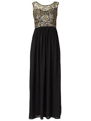 d2d50d36499b Bnwt New Ladies Club L Black Gold Lace Maxi Dress Sizes 10 12 Evening Party  Asos