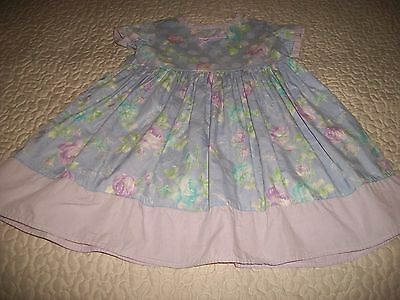 Baby Lulu Pastel Blue Floral-print S/S Cotton Dress - Size 3T