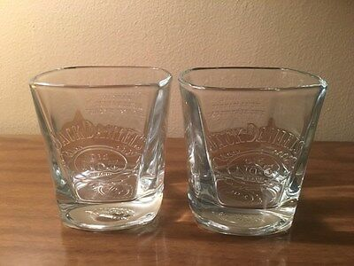 New-2 Jack Daniels Old No.7 Brand Raised Logo Clear Square Highball Glasses